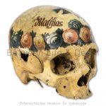 """Ossuary in Hallstatt: Painted skull: """"Matthias Mosshammer"""""""